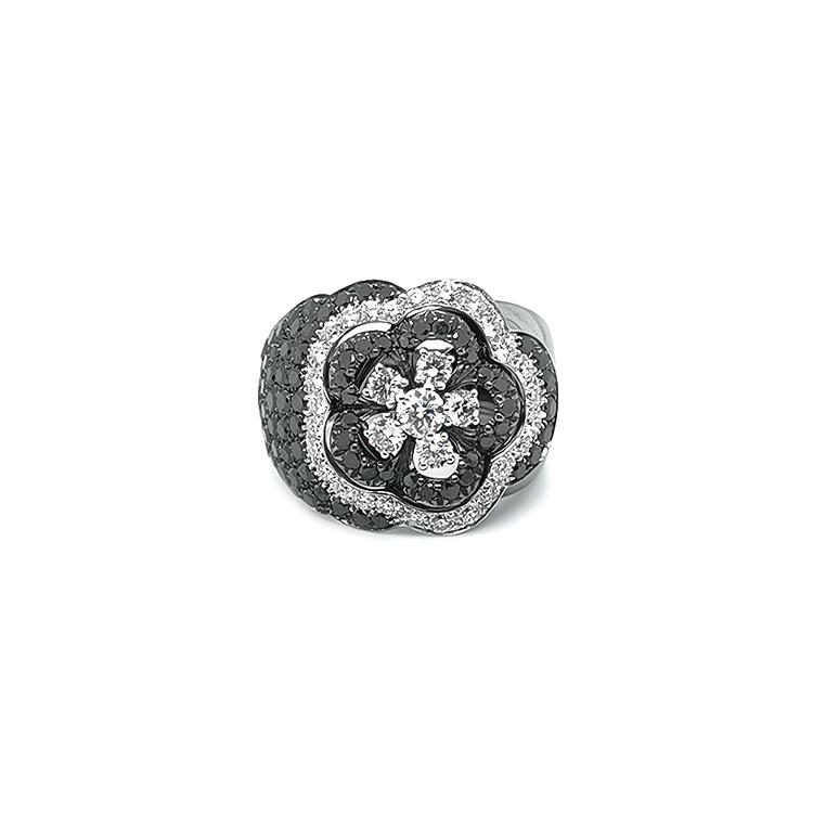 Zlatý Prsten Crivelli s Černými a Bílými Diamanty