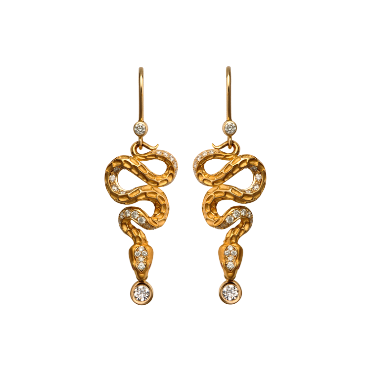 Zlaté Náušnice s Diamanty Magerit Mythology Snake Diamond