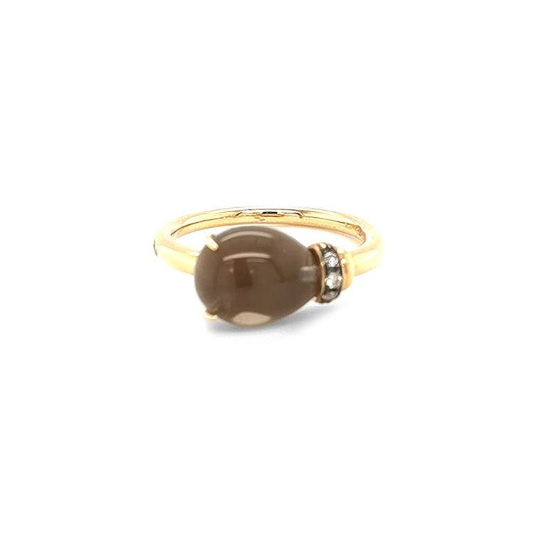 Zlatý Prsten s Záhnědou a Diamanty