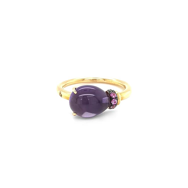 Zlatý Prsten s Ametystem a Růžovými Safíry