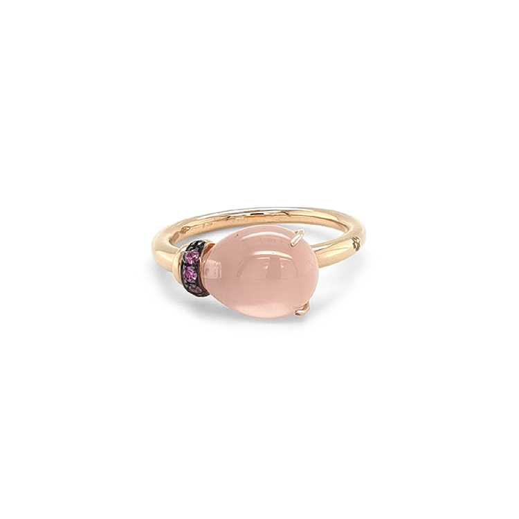 Zlatý Prsten s Růžovým Quartzem a Růžovými Safíry