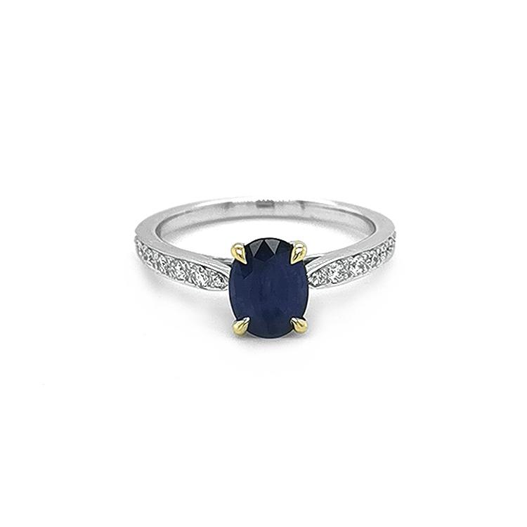 Zlatý Prsten se Safírem a Diamanty