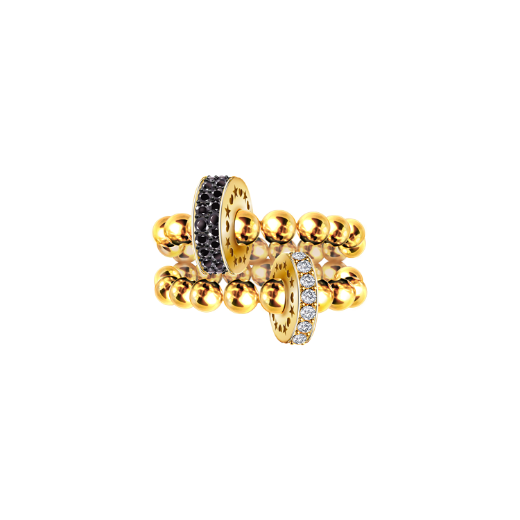 Zlatý Prsten s Černými a Bílými Diamanty