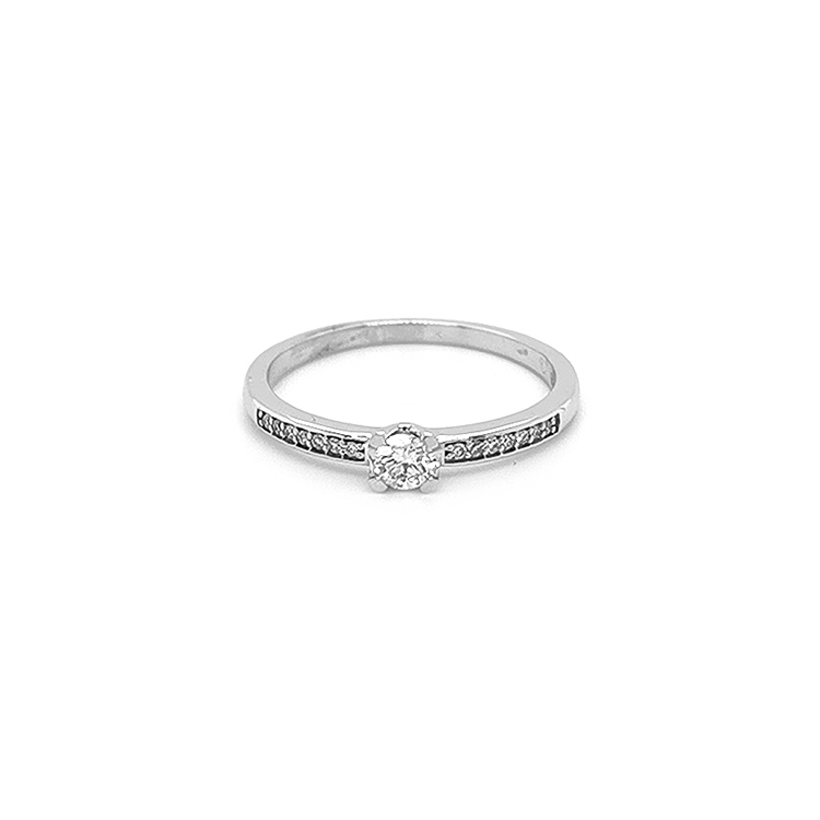 Zlatý Zásnbní Prsten s Diamanty