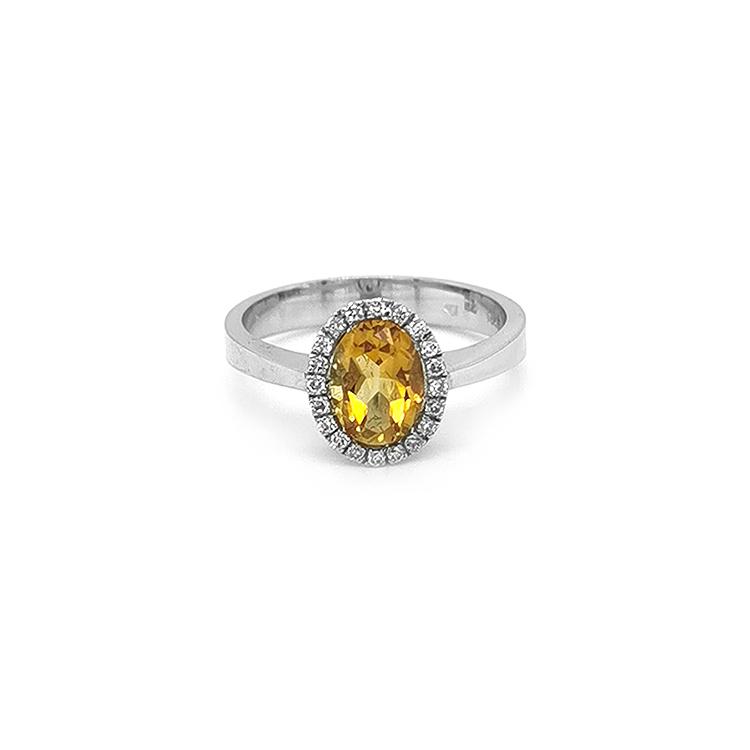 Zlatý Prsten s Citrínem a Diamanty