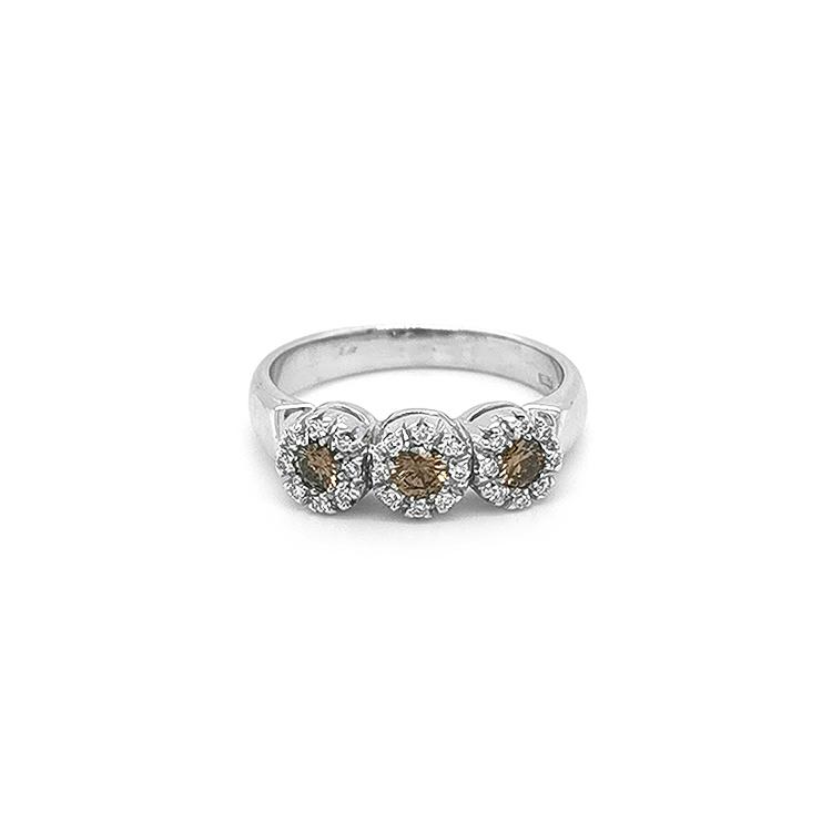 Zlatý Prsten s Hnědými a Bílými Diamanty