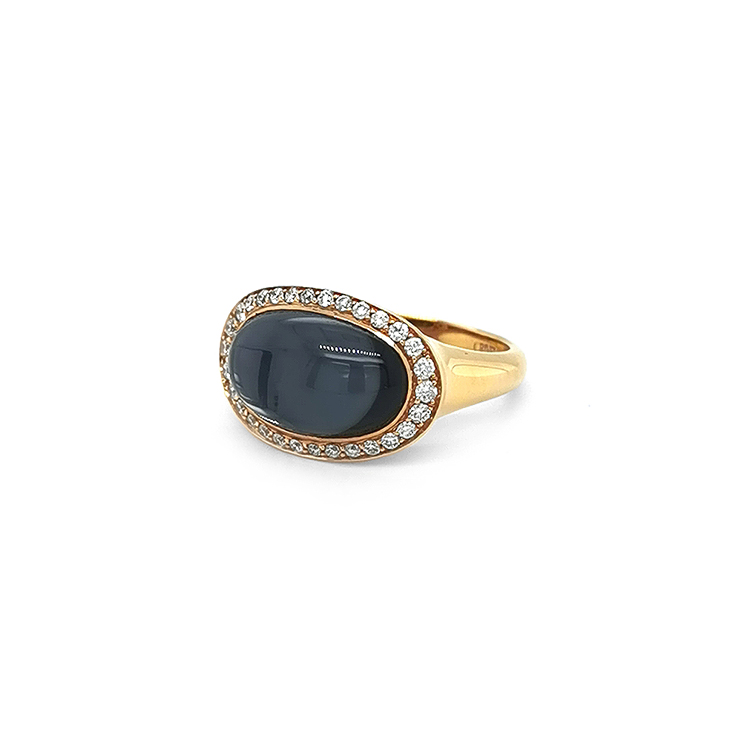 Zlatý Prsten Crivelli s Hematitem a Diamanty