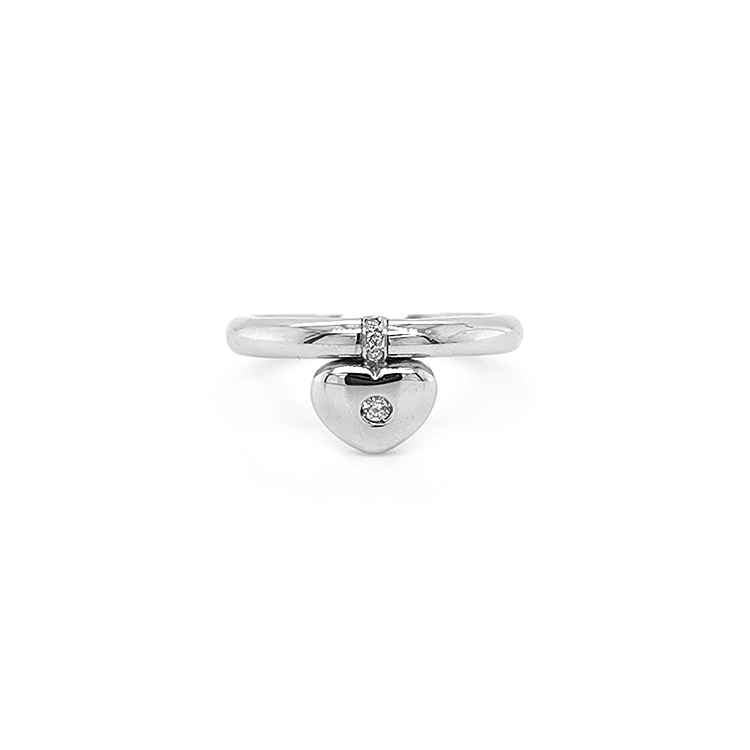 Zlatý Prsten ve Tvaru Srdce s Diamantem