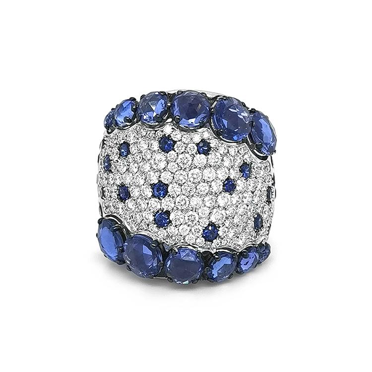 Zlatý Prsten Crivelli se Safíry a Diamanty