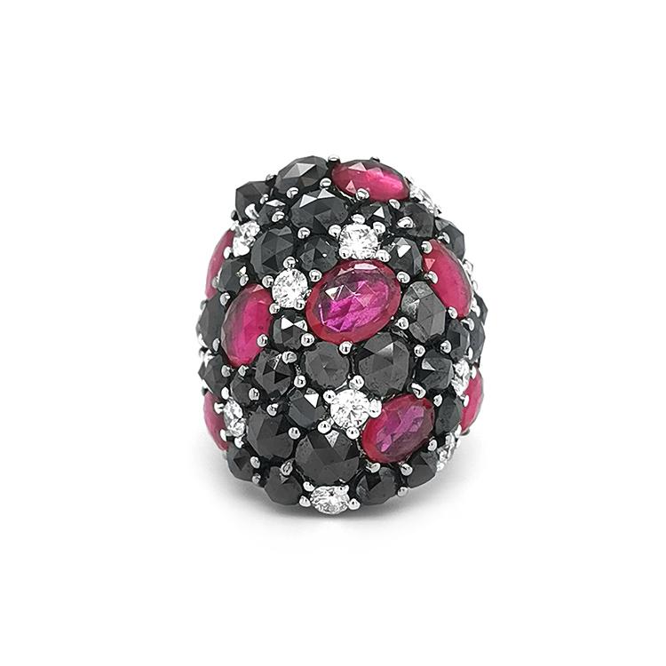 Zlatý Prsten s Rubíny, Černýmí a Bílými Diamanty