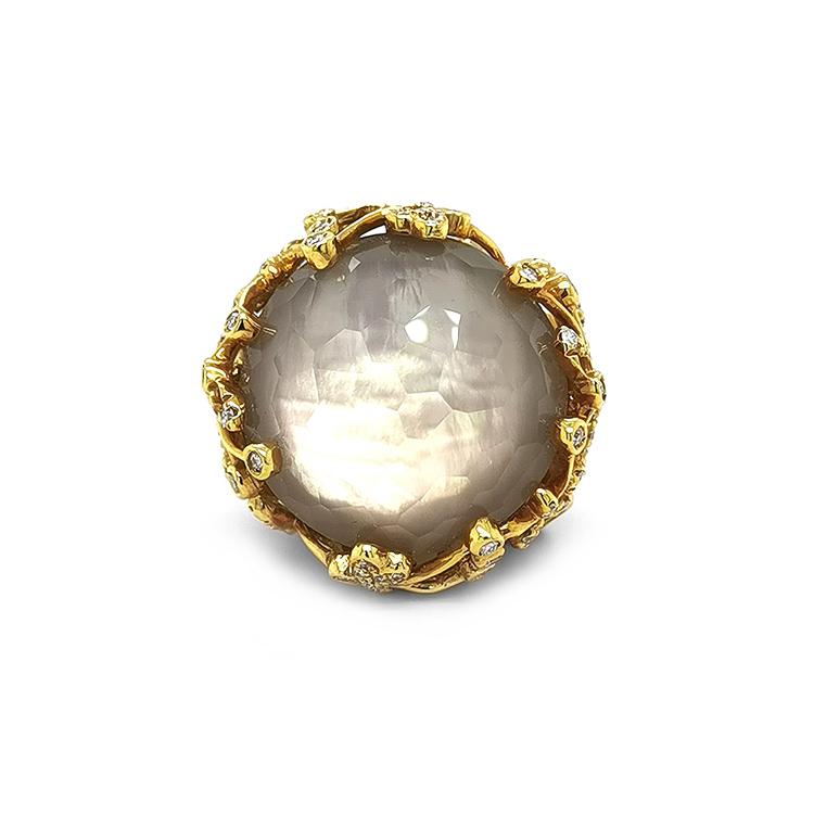 Zlatý Prsten s Perletí, Quartzem a Diamanty
