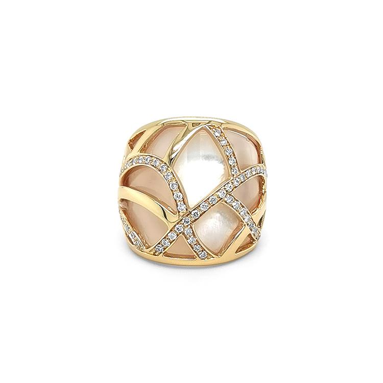 Zlatý Prsten s Perletí a Diamanty