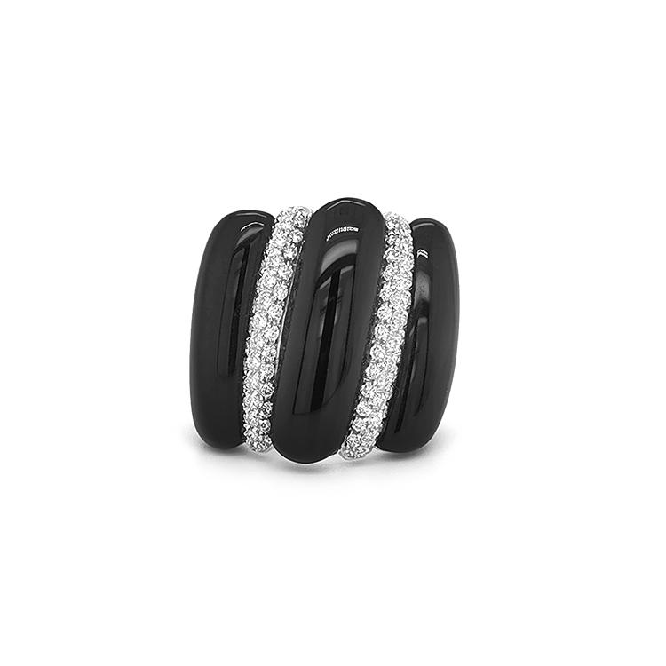 Zlatý Prsten s Onyxy a Diamanty