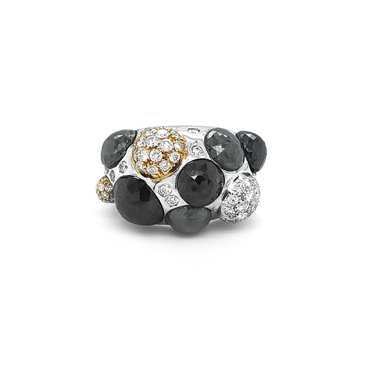 Zlatý Prsten Crivelli s Černými, Šedými a Bílými Diamanty