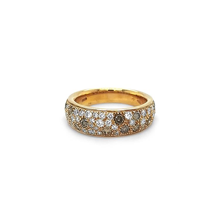 Zlatý Prsten s Hnědými s Bílými Diamanty