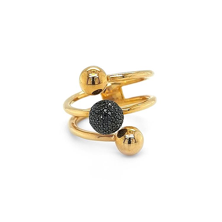 Zlatý Prsten s Čerými Diamanty