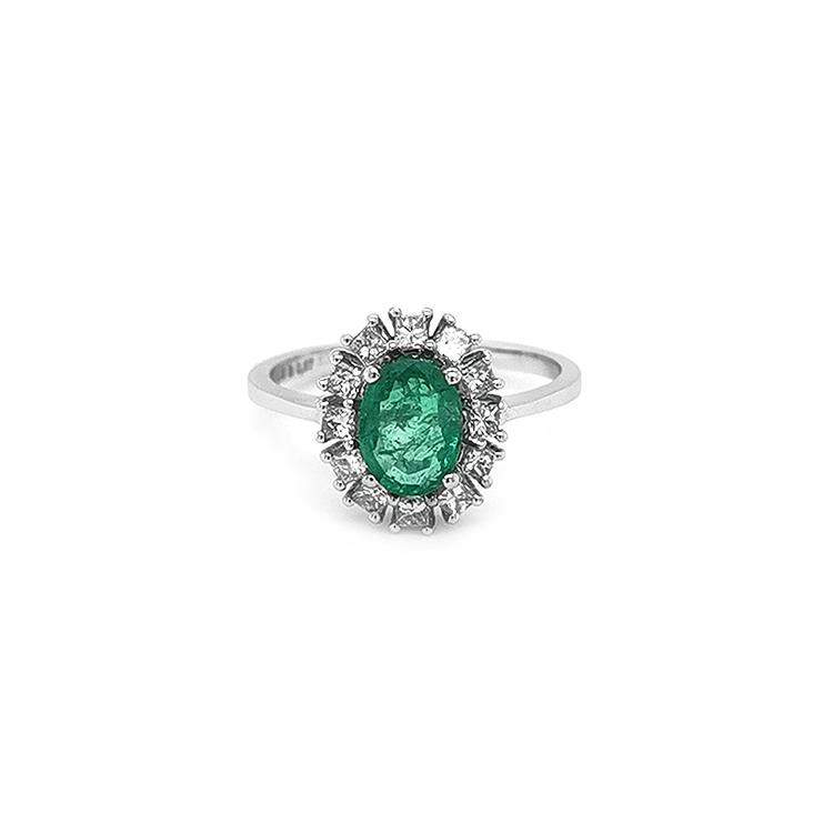 Zlatý Prtsen se Smaragdem a Diamanty