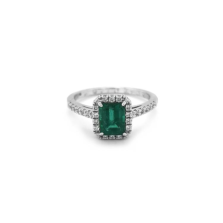 Zlatý Prsten s Smaragdem a Diamanty