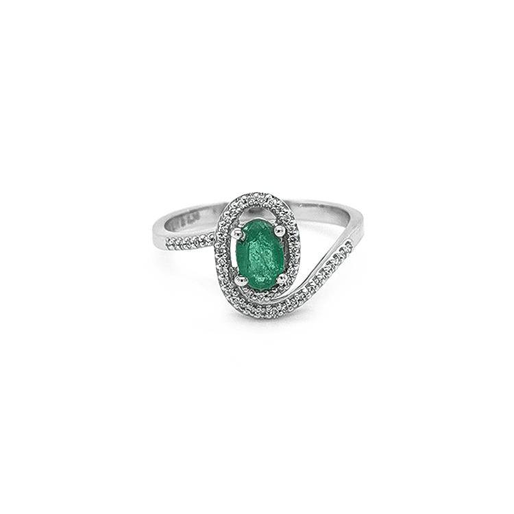 Zlatý Prsten se Smaragdem a Diamantny