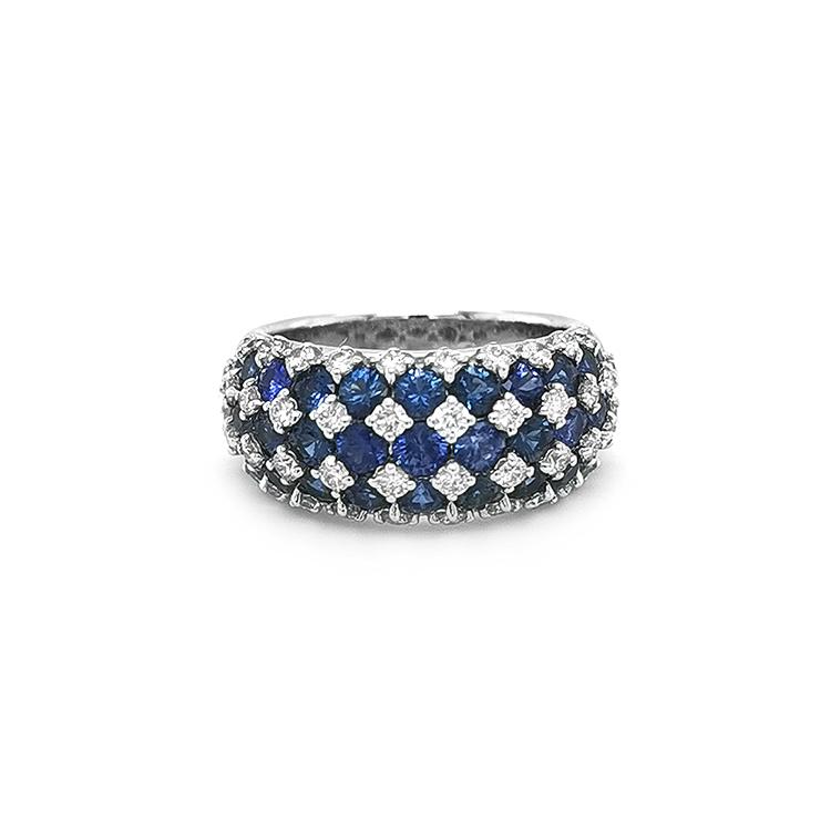 Zlatý Prsten se Safíry a Diamanty