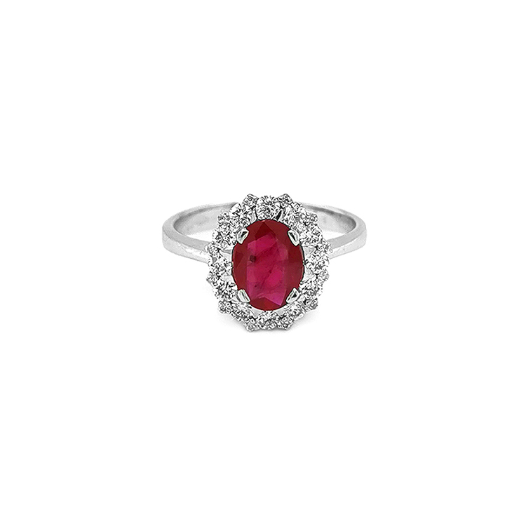 Zlatý Prsten s Rubínem a Diamanty