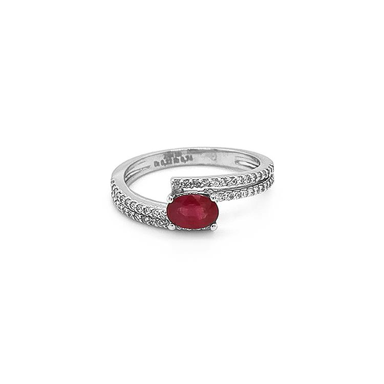 Zlatý Prsten s Rubínem s Diamanty