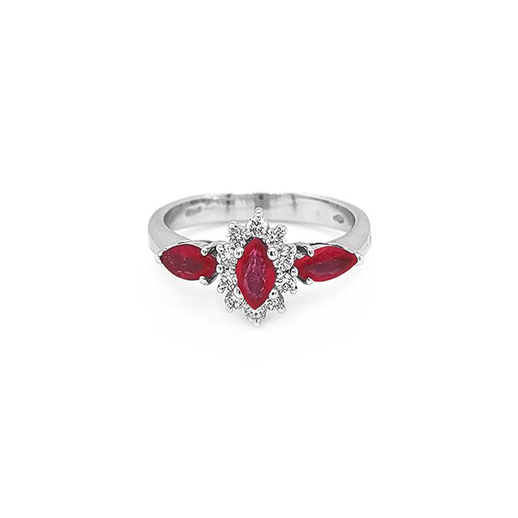 Zlatý Prsten s Rubíny s Diamanty