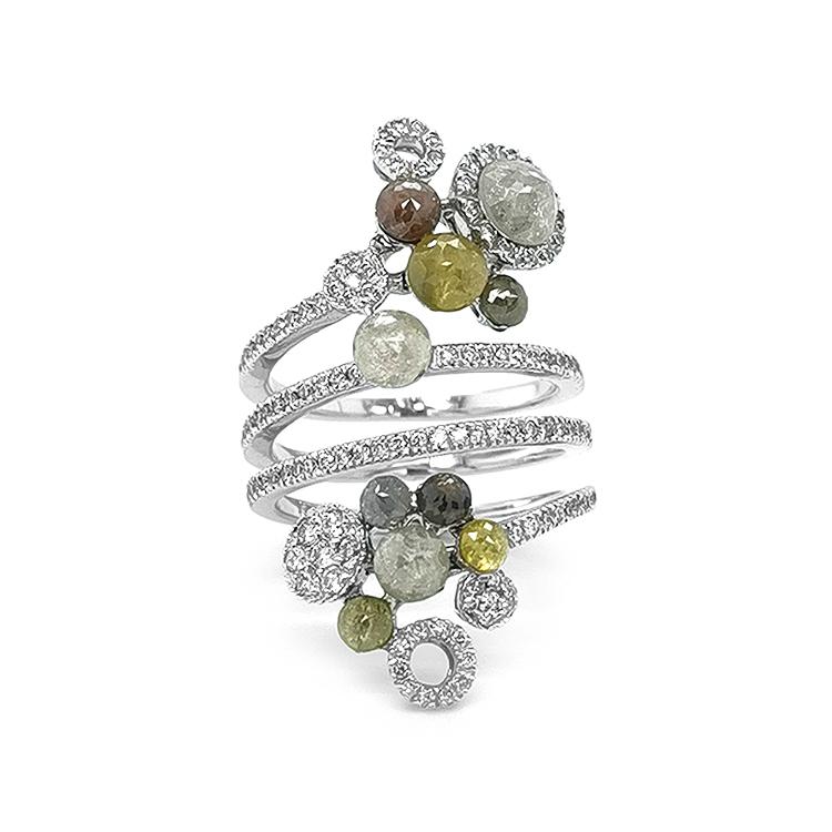 Zlatý Prsten s Barevnými Diamanty