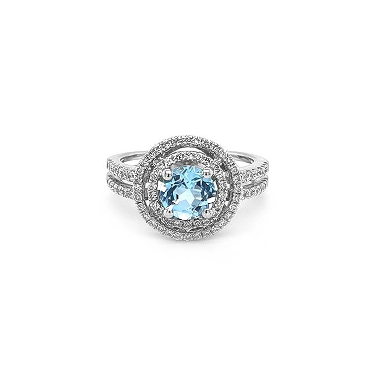 Zlatý Prsten s Modrým Topazem a Diamanty