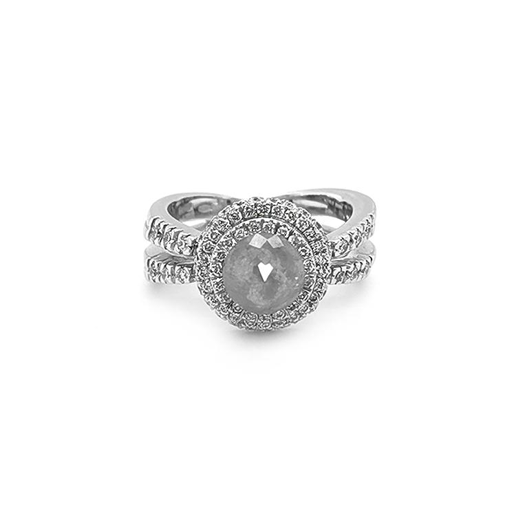 Zlatý Prsten s Šedým a Bílými Diamanty