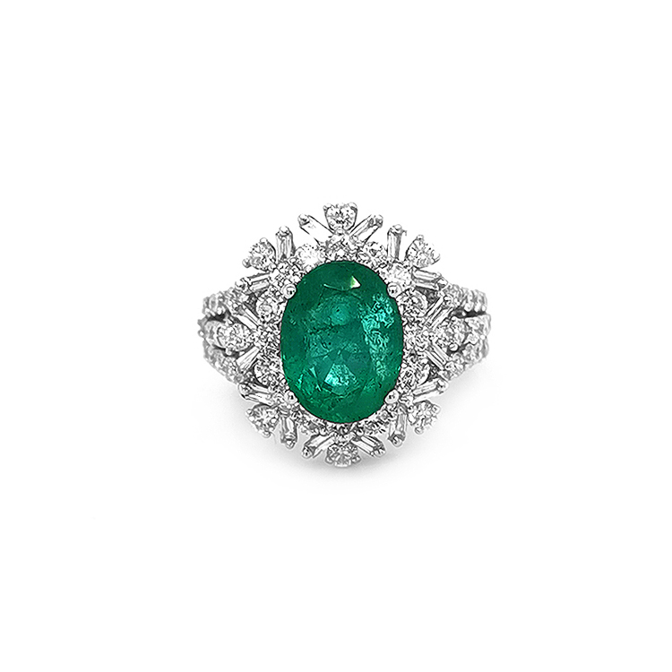 Zlatý Prsten se Smaragdem  Diamanty