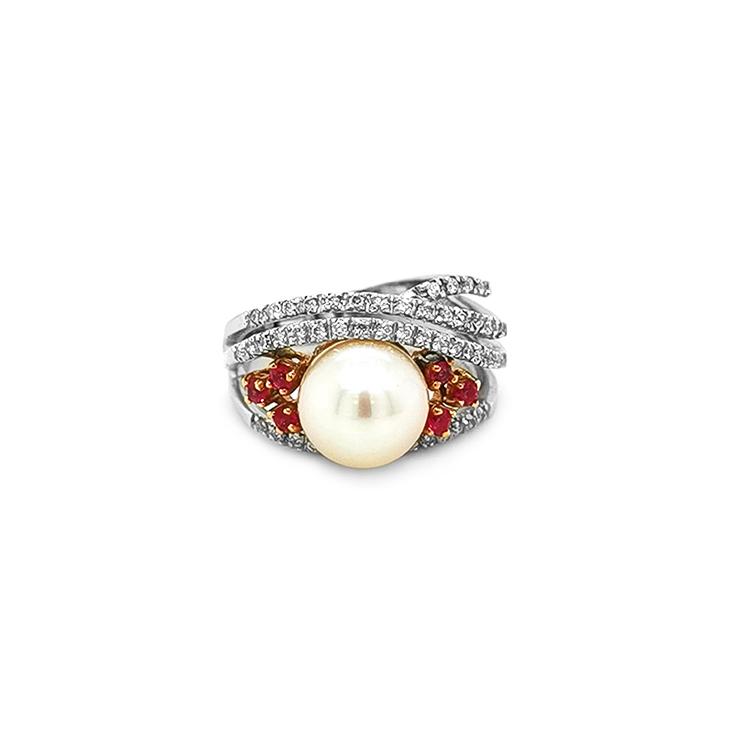 Zlatý Prsten s Přírodní Perlou, Růžovými Safíry a Diamanty