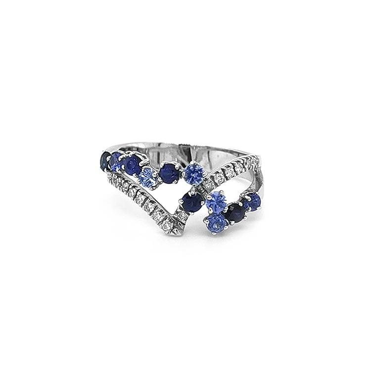 Zlatý Prsten s Akvamaríny, Safíry a Diamanty