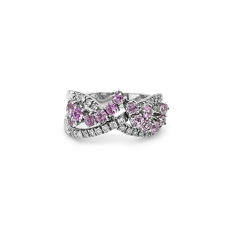 Zlatý Prsten s Růžovými Safíry a Diamanty