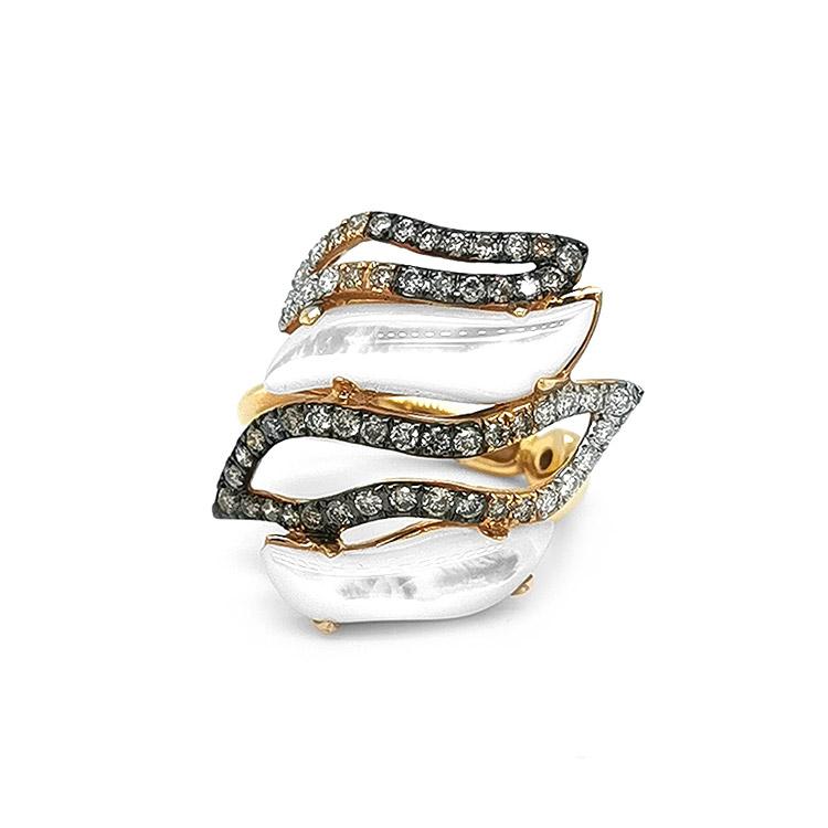 Zlatý Prsten s Perletí a Barevnými Diamanty