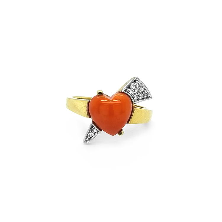 Zlatý Prsten s Korálem a Diamanty