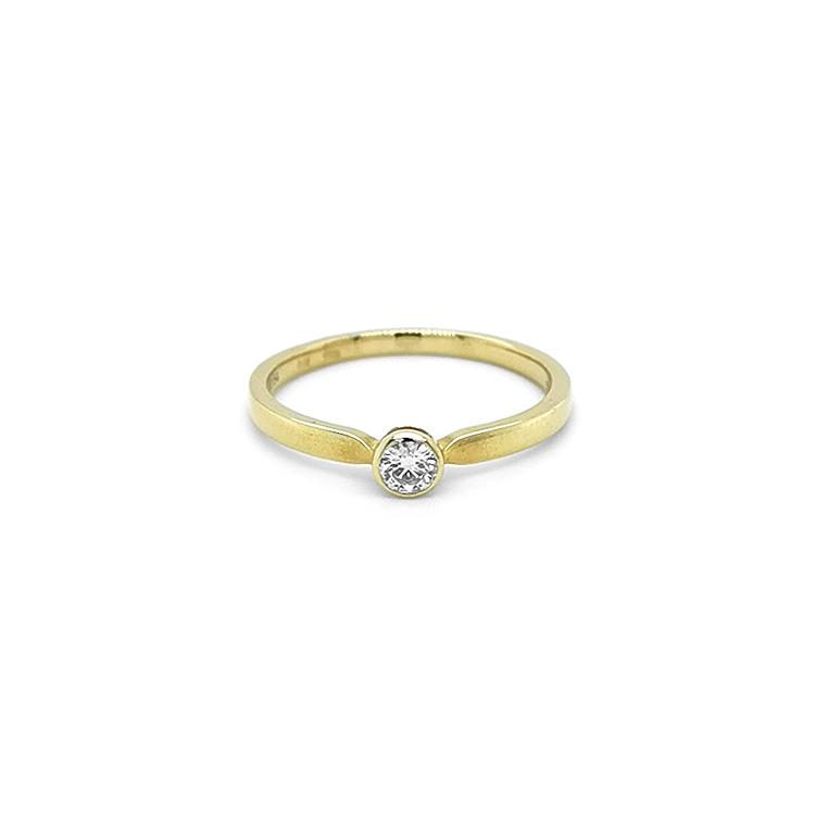Zlatý Zanubní Prsten s Diamantem