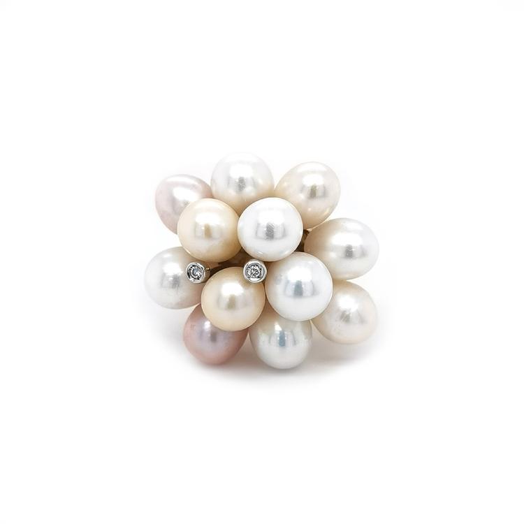 Zlatý Prsten s Přírodnými Perly a Diamanty
