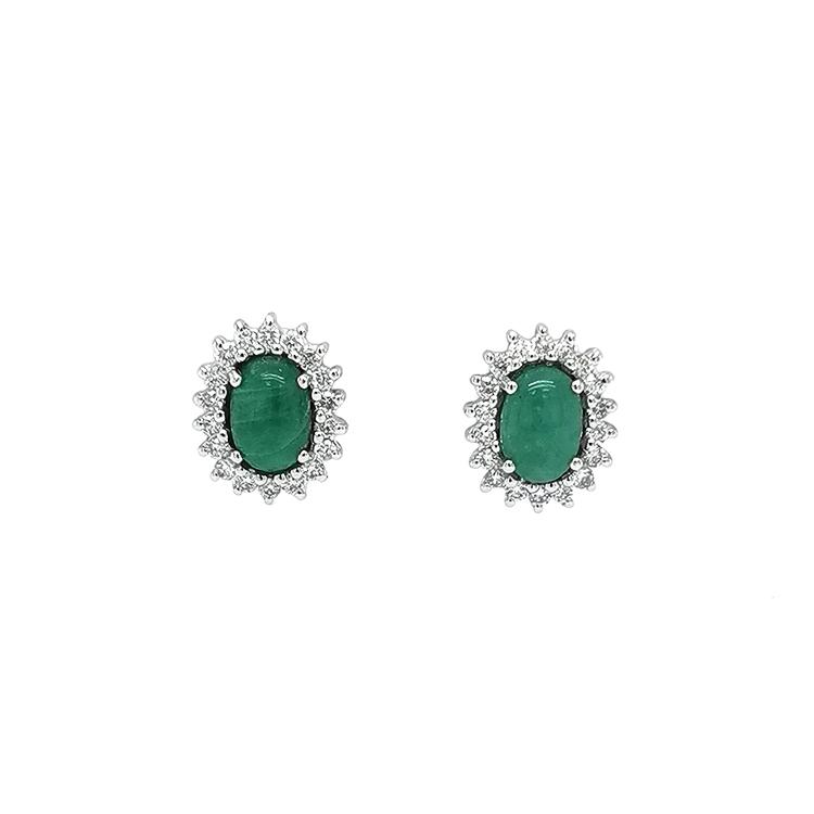Zlaté Náušnice se Smaragdy s Diamanty