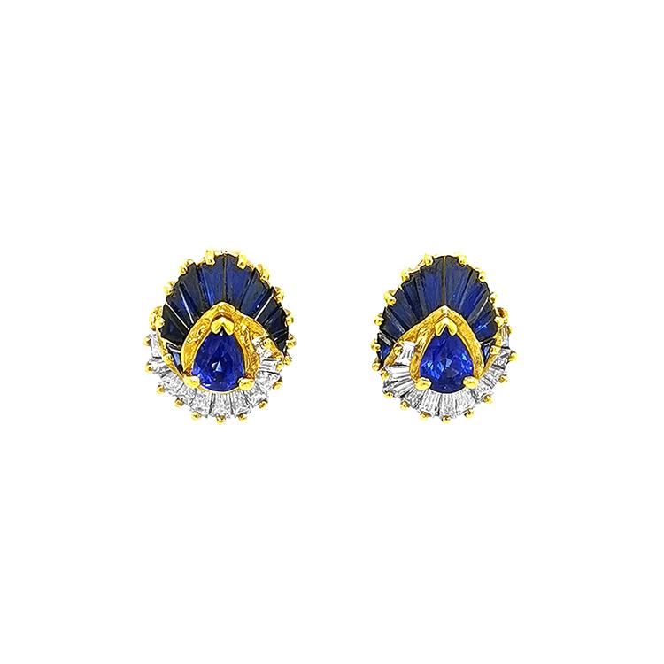Zlaté Náušnice se Safíry a Diamanty