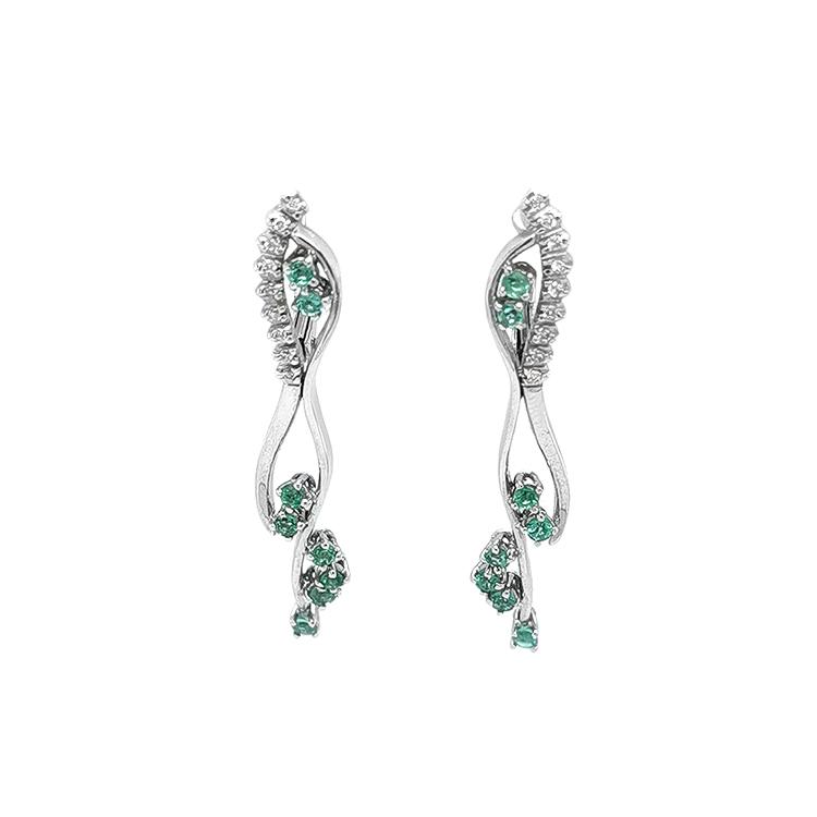 Zlaté Náušnice se Smaragdy a Diamanty