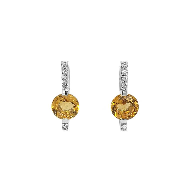 Zlaté Náušnice s Citríny a Diamanty