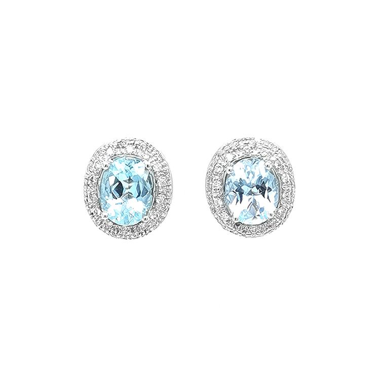 Zlaté Náušnice s Akvamaríny a Diamanty