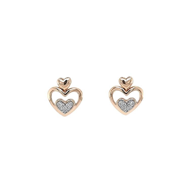 Zlaté Náušnice ve Tvaru Srdce s Diamanty