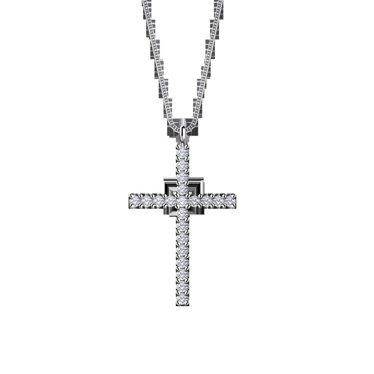 Zlatý Přívěsek Kříž s Diamanty