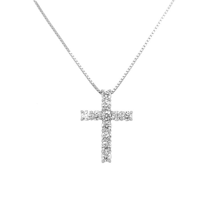 Zlatý Přívěsek Kříž z Bílého Zlata s Diamanty