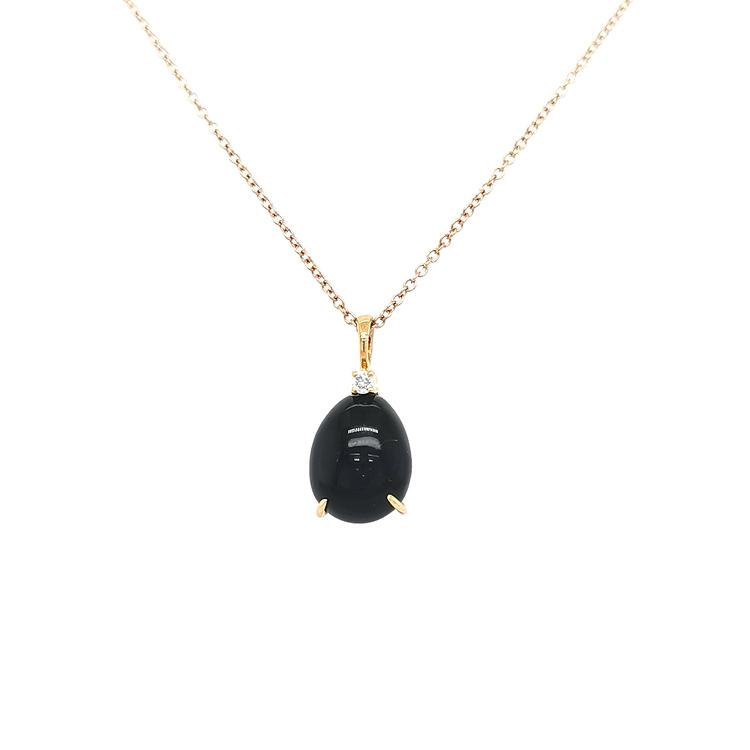 Zlatý Přívěsek s Onyxem a Diamantem
