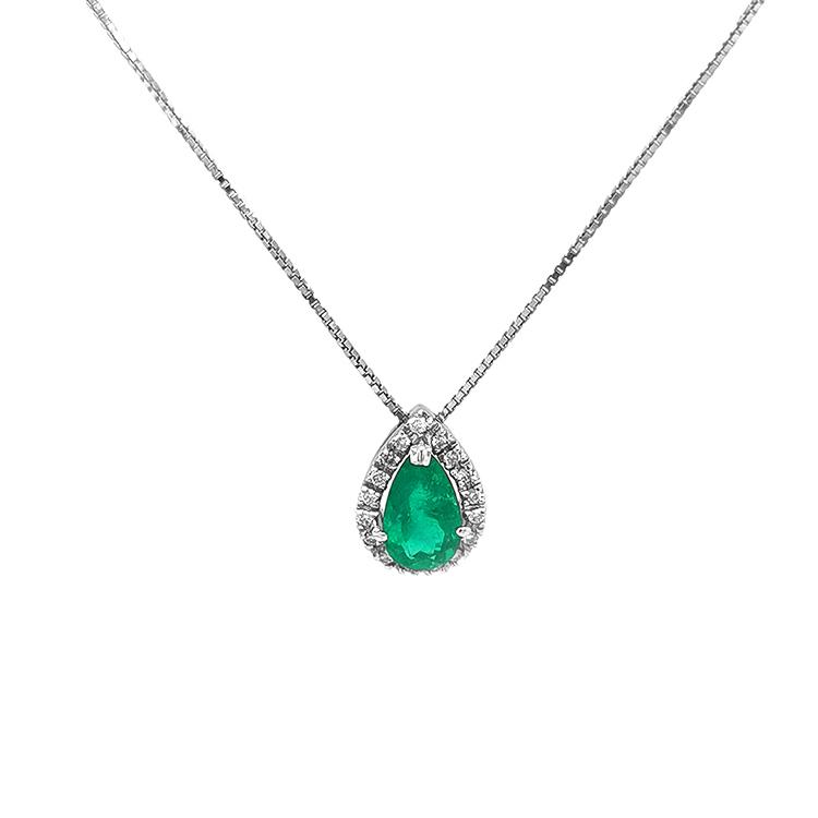 Zlatý Přívěsek se Smaragdem a Diamanty