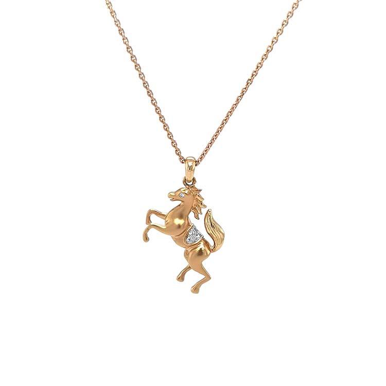 Zlatý Přívěsek Kůň s Diamanty