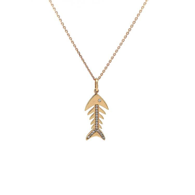 Zlatý Přívěsek Rybička s Diamanty